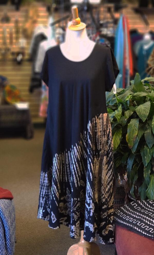 Tie-Dye Dress w/Cap Sleeves – Black/Taupe