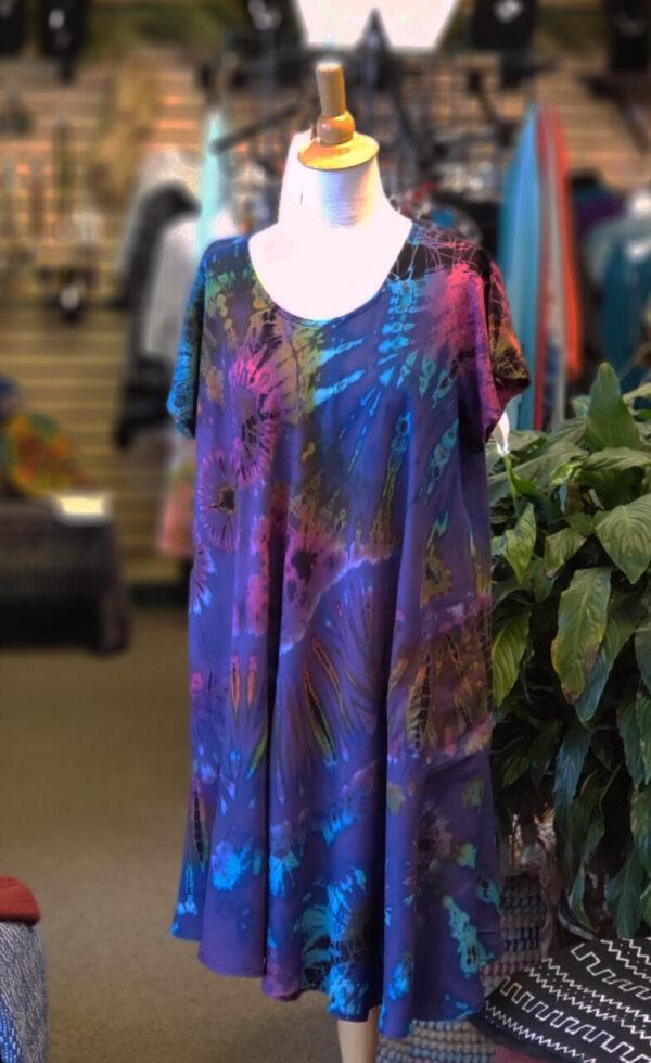 Tie-Dye Dress w/Cap Sleeves – Purple