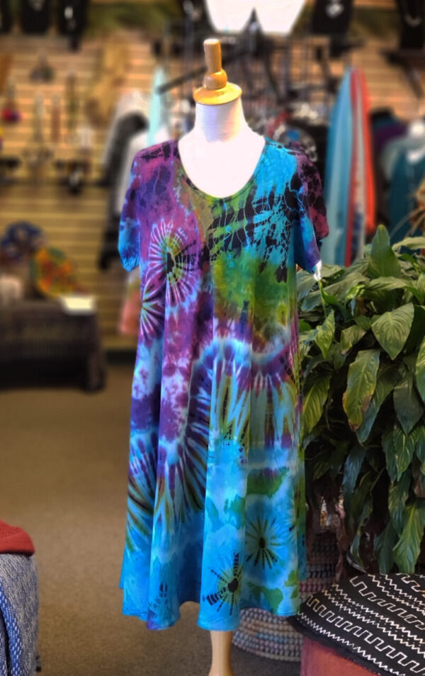 Tie-Dye Dress w/Cap Sleeves – Turquoise