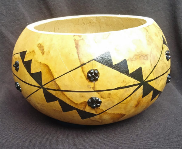 Natural Gourd Decorative Bowl with black geometric design accented with black stone circles
