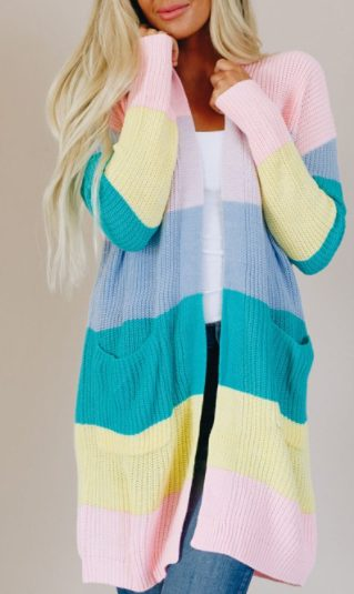 Pastel Color Block Open Front Drape Knitted Cardigan