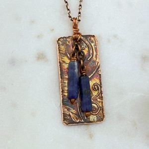 Copper and sodalite acid etched necklace