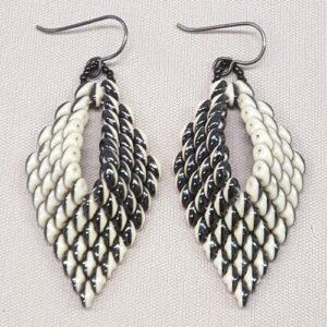 Black and White Leaf Earrings