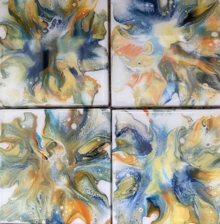 Bright Blue & Yellow Coasters by Gwen Atty