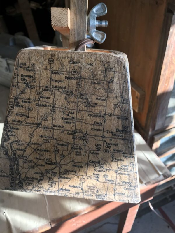 Desk Lamp with Iowa map shade