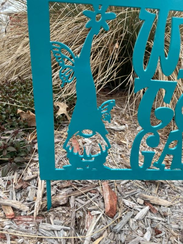 Welcome To My Garden Gnome Metal Sign