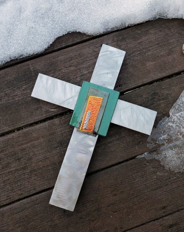 Fused glass on stainless steel cross – Green, Bronze, Orange/Yellow, Blueish Pink