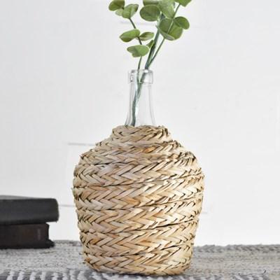 Glass Bottle W/ Braided Weave