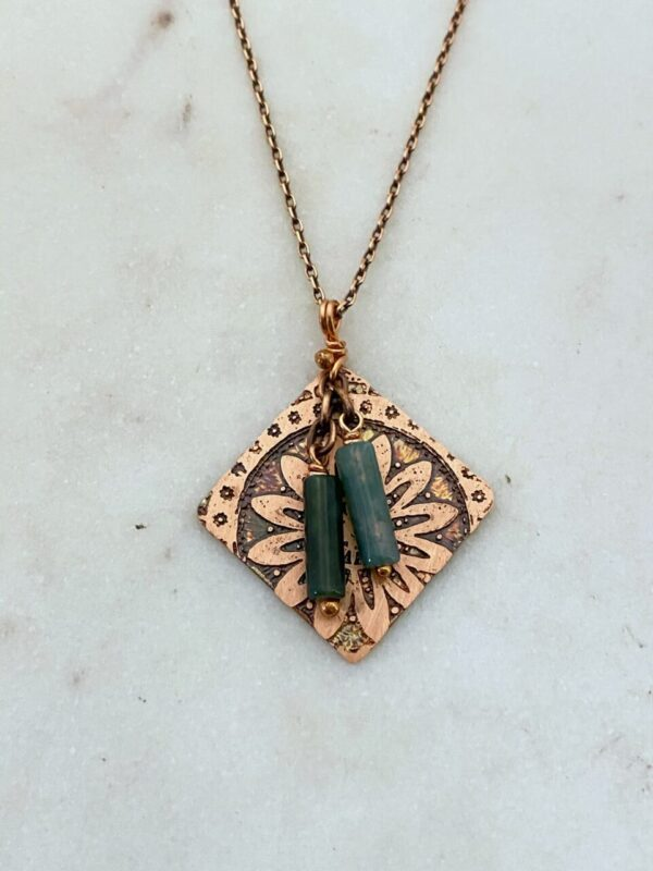 Acid etched copper mandala necklace with moss agate gemstones