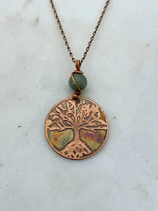 Handmade copper acid etched tree necklace with aventurine