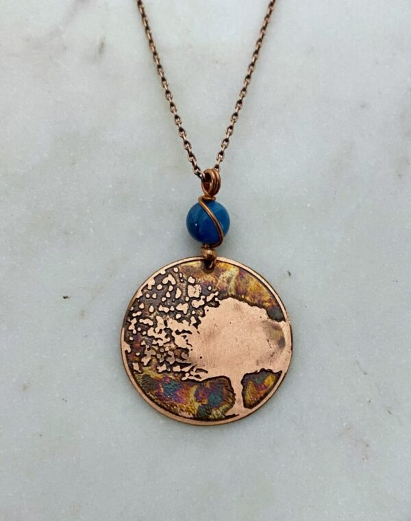 Handmade copper acid etched tree necklace with apatite