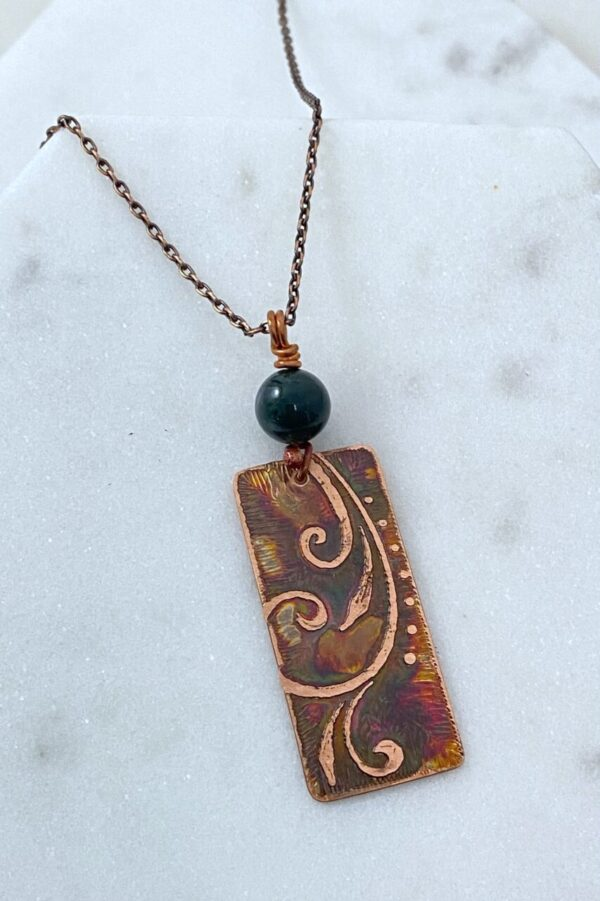 Handmade copper acid etched necklace with moss agate
