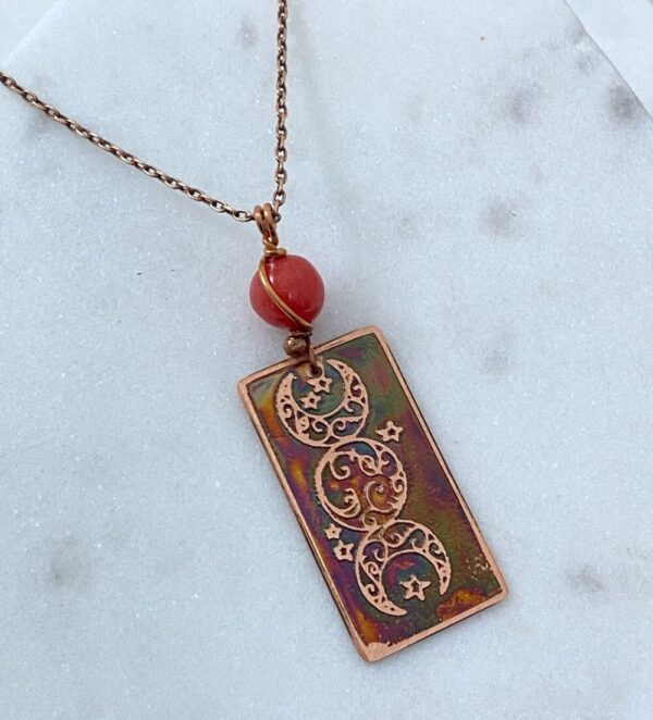 Handmade copper acid etched necklace with coral