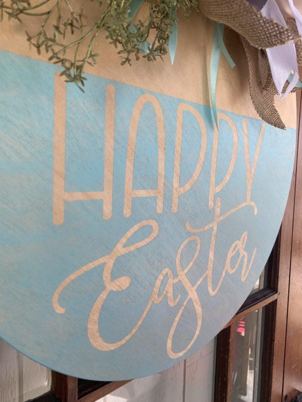 Happy Easter Wooden Wreath Sign