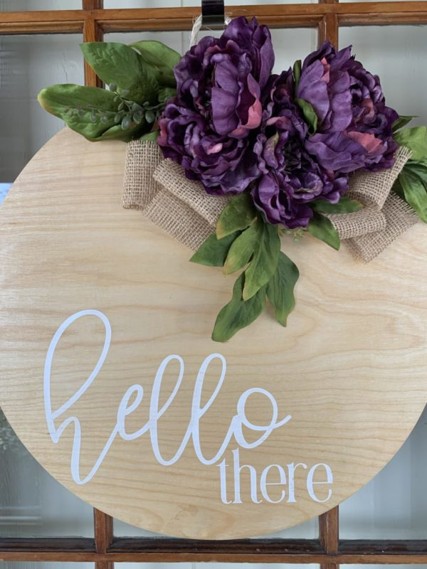 Purple Floral Hello There Wreath