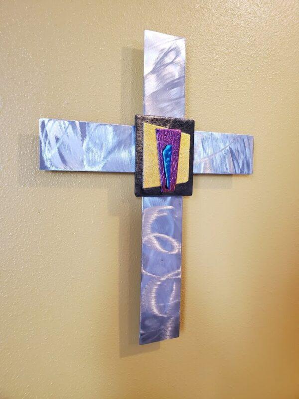 Fused glass on stainless steel cross – Bronze, orange/yellow, purple/salmon, teal/blue