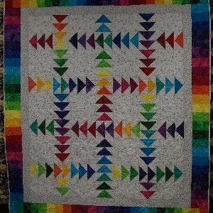 All Iowa Rainbow Running Geese Quilt Kit