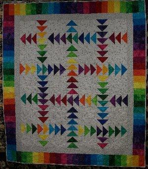 All Iowa Rainbow Running Geese Quilt Kit