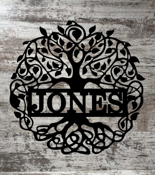 Tree of Life With Family Name Metal Sign