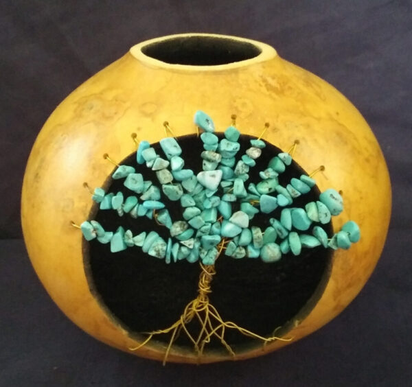 Decorative Natural Gourd with tree of life in your choice of colored stone