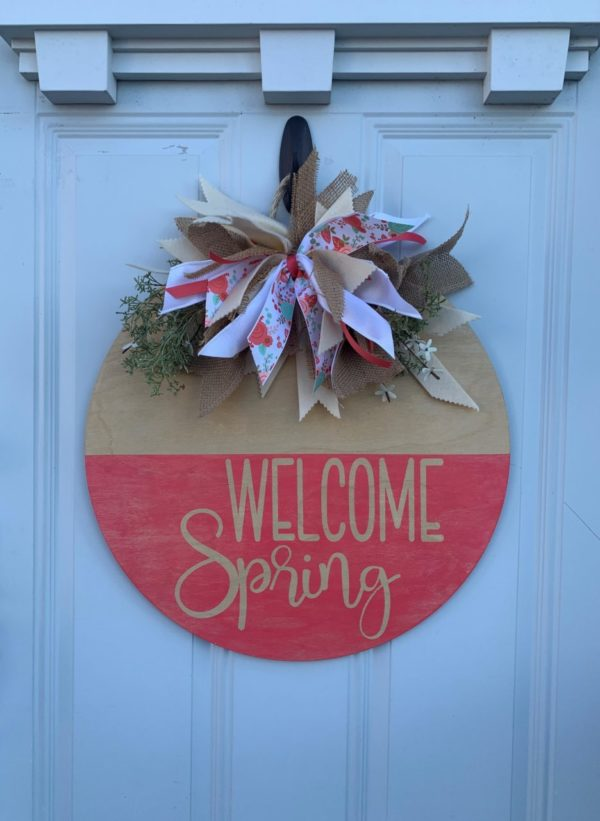 Welcome Spring Wooden Wreath
