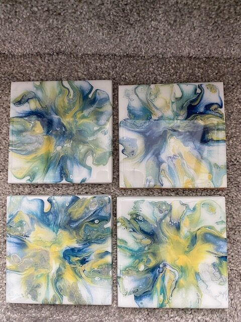 Blue and Yellow Coasters by Gwen Atty