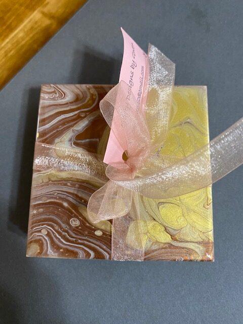 Copper gold Coaster Set by Gwen Atty