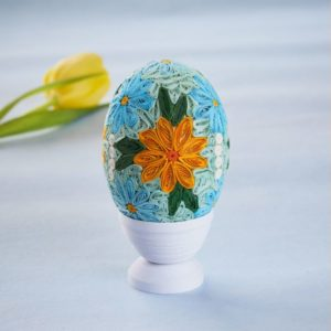 Quilled Grand Floral Egg in Stand