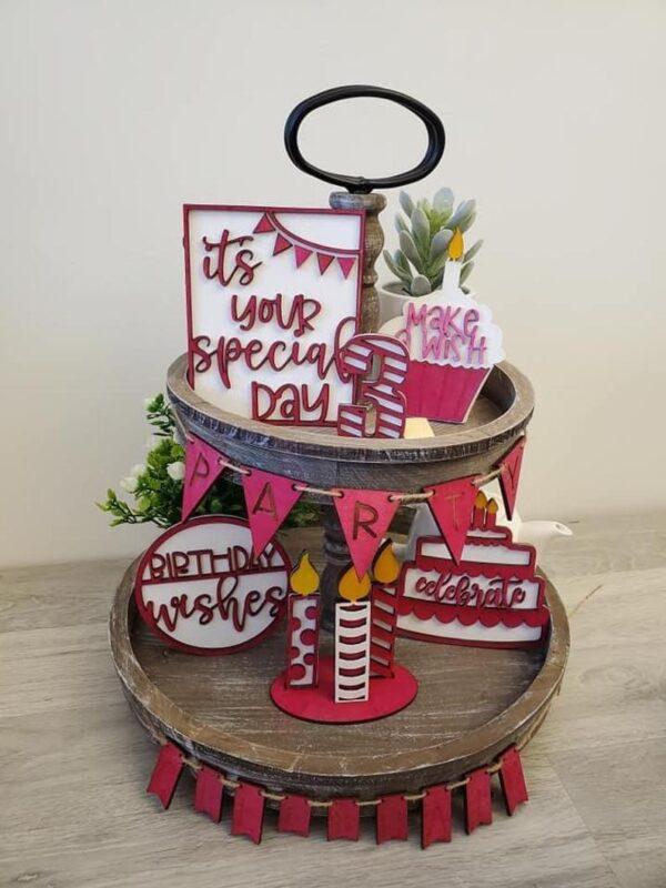 Birthday Tiered Tray Bundle DIY Wood Craft Kit