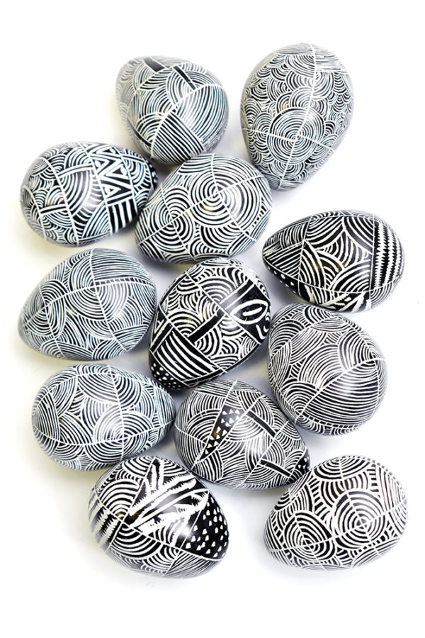 Black Etched Soapstone Eggs