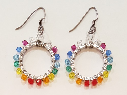 Rainbow Wire Wrapped Earrings