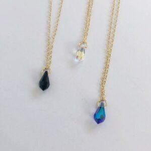 Mystery Crystal Teardrop Pendant Necklace