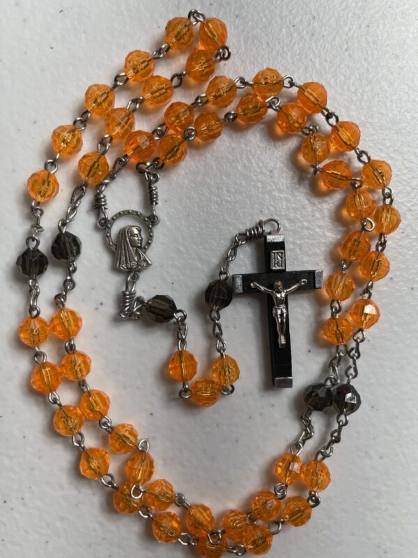 Handmade orange and black acrylic tosary