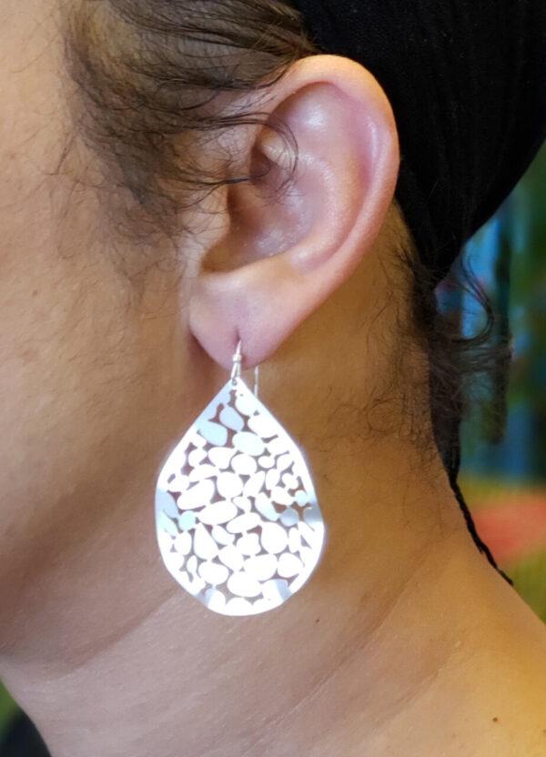 Lacy Tear Drop Silver Tone Earrings