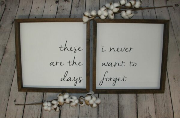 These are the days I never want to forget Farmhouse Set of 2 Signs