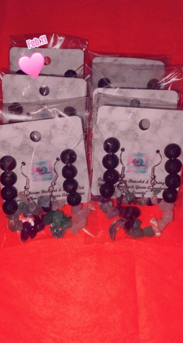 Crystal Charm Bracelet and Earring set