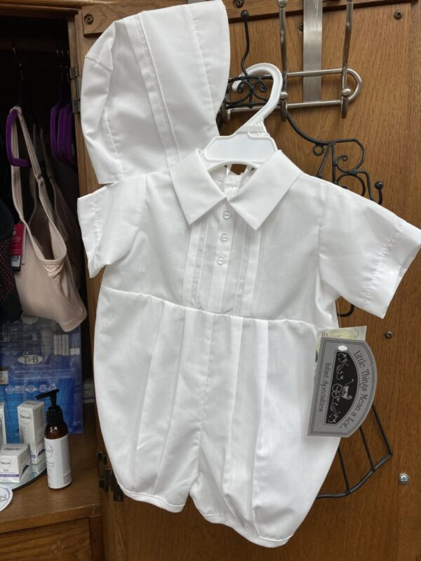 Baptism/Christening short sleeved, short pants, one-piece outfit