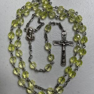 Handmade light yellow glass beaded rosary