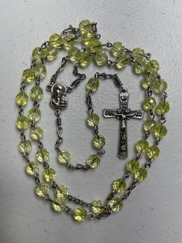 Handmade light yellow glass beaded rosary