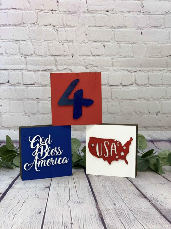 Reversible – 3D Summer/4th of July Mini Block Set of 3