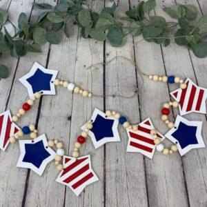 Patriotic Laser Cut Stars Garland