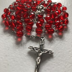 Handmade red glass beaded rosary