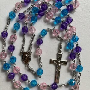 Handmade Turquoise/purple/pink colored acrylic rosary