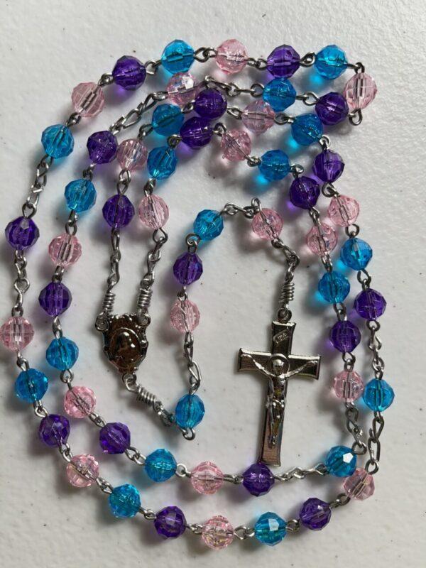 Handmade Turquoise/purple/pink colored acrylic rosary