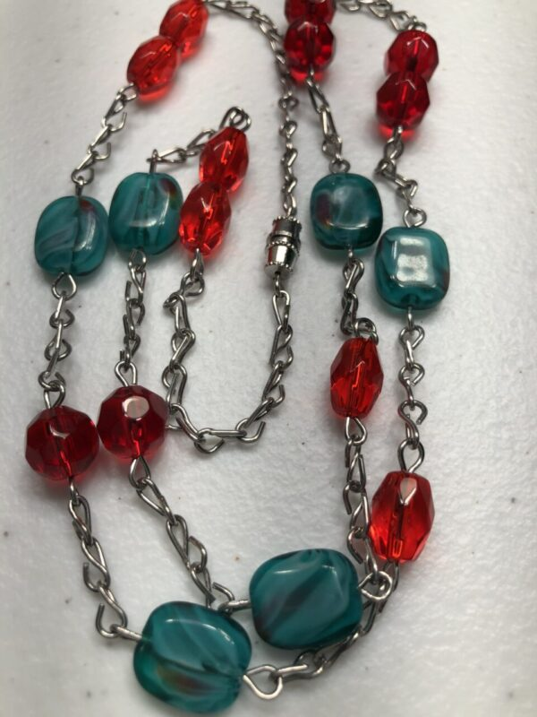 Handmade red & turquoise glass beaded necklace