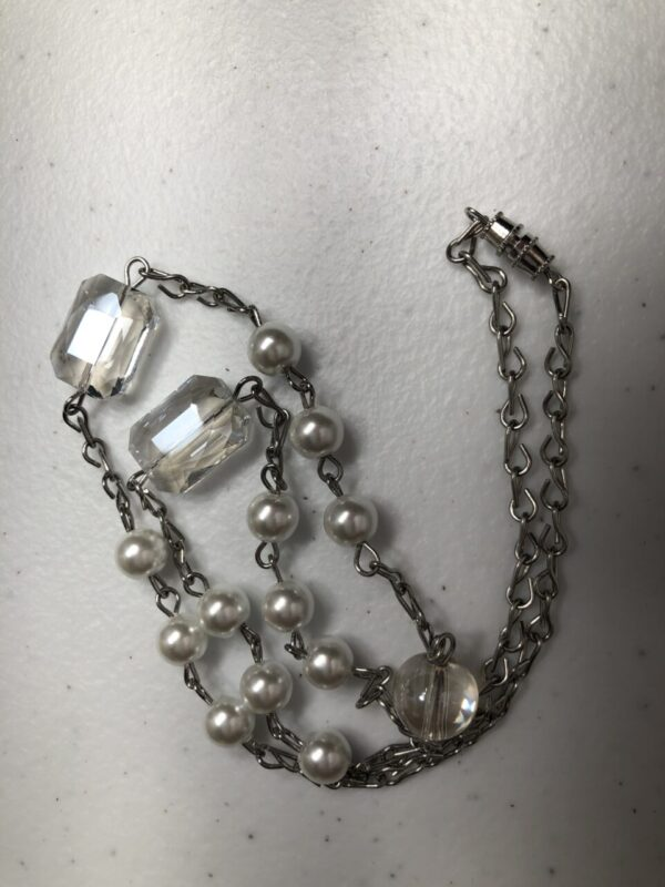 Handmade clear and white glass necklace