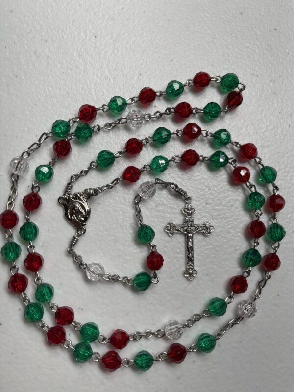 Handmade green/red/clear acrylic rosary