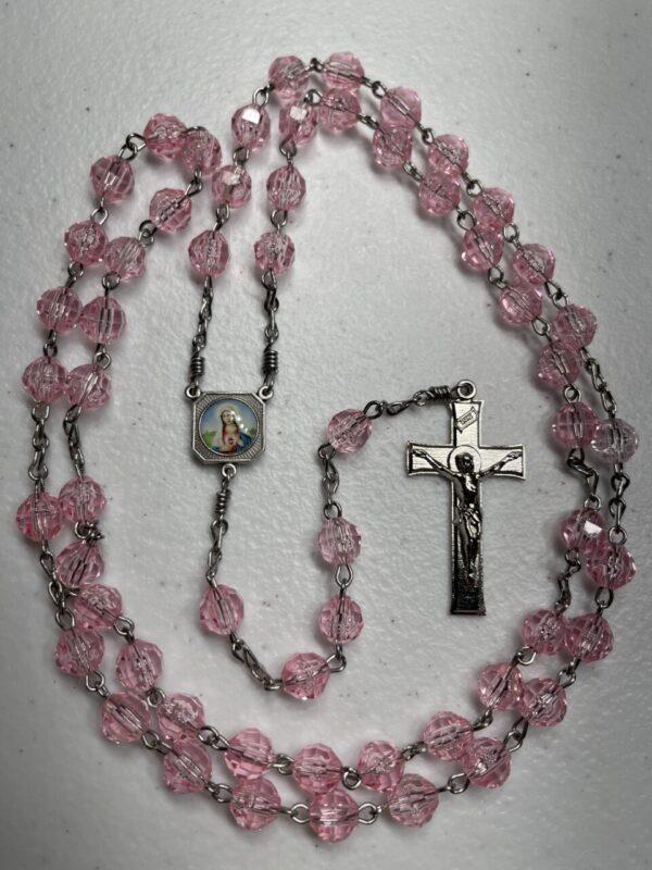 Handmade pink acrylic rosary