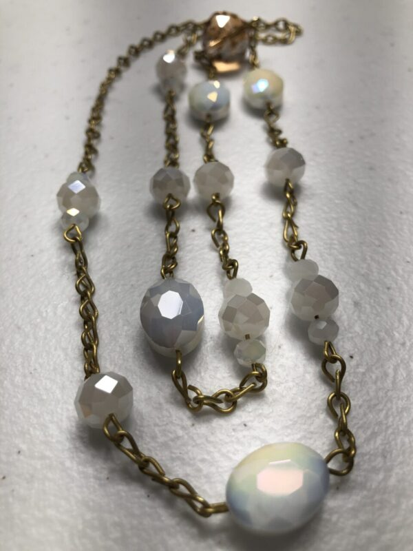 Handmade clear,white,amber & gold colored beaded necklace