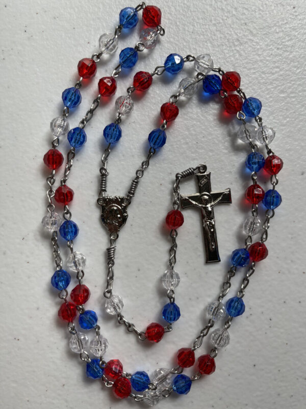 Handmade red/white/blue acrylic rosary